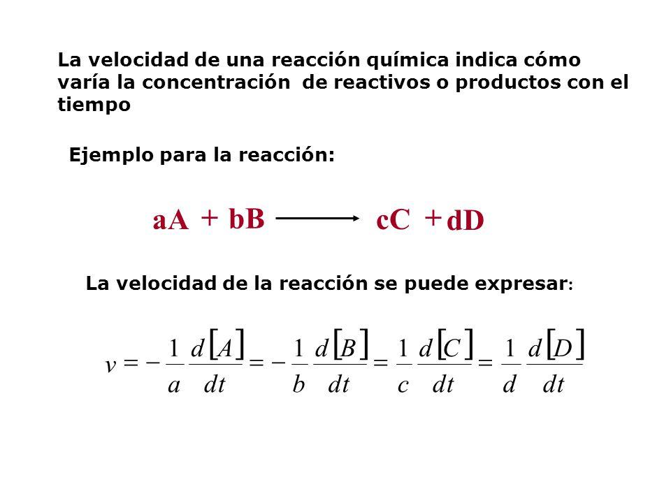 [ ] + aA bB cC dD dt D d C c B b A a v 1 = -